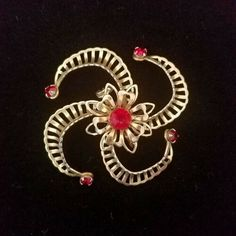 Simply Beautiful Art Deco Christmas RED Enamel Flower Brooch.