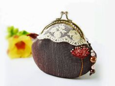 Metal frame purse / Coin purse/ Embroidery coin purse by DooDesign, $28.90