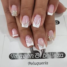 Magic Nails, Gem Nails, Shellac Nails, French Acrylic Nails, French Tip Nails, Manicure Nail Designs, Nail Manicure, French Tip Nail Designs, Finger Nail Art