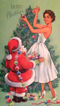 Santa helping trim the tree. | 17 Beautifully Festive African-American Christmas Cards From The 1950s And '60s