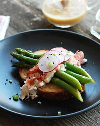Lobster and Asparagus Salad with Miso-Mustard Vinaigrette Recipe -By Andrew Zimmern on Food & Wine Mag.