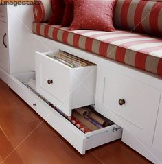 great storage in a window seat!. THIS IS DEFFINTALLY GOING IN MY ROOM!!!! My window is a little low so we might have to have a custom mad one & get this installed!!! It would be great on rainy days! You could fit a book into the storage compartment!!!
