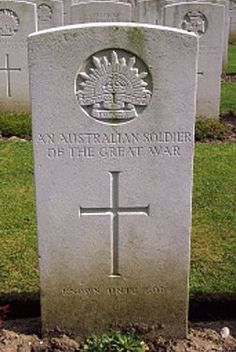 Grave of an unknown Australian WWI soldier, France.