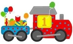 Birthday Train Applique Set - 3 Sizes! | Featured Products | Machine Embroidery Designs | SWAKembroidery.com