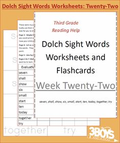 Dolch Sight Words Worksheets:  Week 22 - Dolch Sight Words Worksheets Included:      Flash Cards     Handwriting Practice     Coloring Page     Matching     Instructions for use  List of Dolch Sight Words Included: seven, shall, show, six, small, start, ten, today, together, try  Dolch Sight Words Level: Third Grade Level