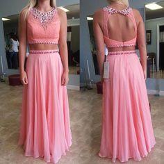 Fashion Prom Dress,Two piece Prom Dress,Pink Beautiful Prom