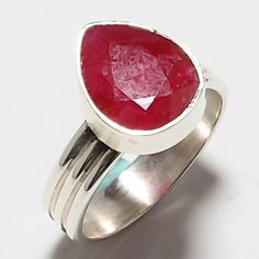 925 SOLID STERLING SILVER KASHMIR RUBY GEMSTONE  RING 6 #Handmade #Cameo #Birthday