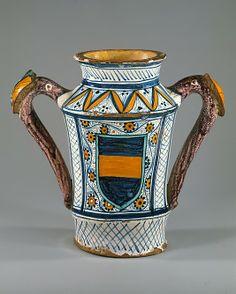 #Maiolica  --  Apothecary Jar  (albarello)  Circa 1480-90  --  Italian  --  The Metropolitan Museum of Art