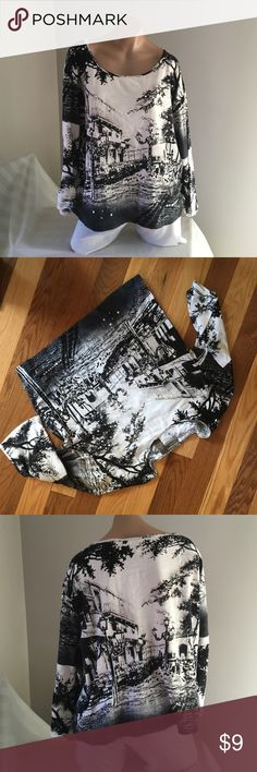 """City scapes Top Sz XL Armpit to armpit is 24"""". 3/4!length sleeves. Shoulder to hem is 23"""". Jane Ashley Tops Tees - Long Sleeve"""
