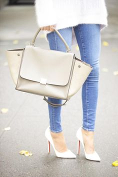 Jeans: Frame Denim | White Pumps: Christian Louboutin | Bag: Celine