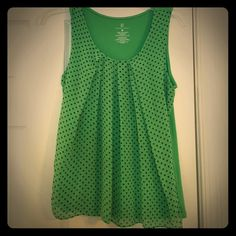Green polka dot blouse Beautiful green blouse with navy polka dots. flowy in the front. Smoke free, pet free. No defects New York & Company Tops Tank Tops