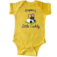 Inktastic Pappa Little Golf Caddy Infant Creeper Baby Bodysuit Pappas Golfing Cart Grandchild Gift From Golfer Sports Cute Childs Grandpa Father Fathers Day Family One-piece Hws, Infant Boy's, Size: 6 Months, Yellow