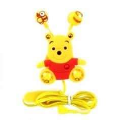 WINNIE THE POOH STEREO EARPHONES WITH MIC & CLIP