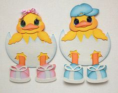 Tocg Easter Set of 2 Chicks in Egg Boy and Girl Kids Spring Tear Bear Kira | eBay