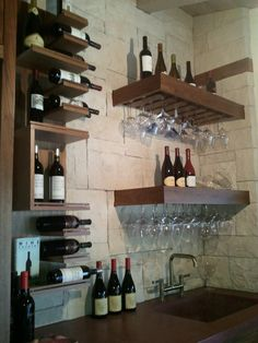 amazing wine bar Magazine Shelving & storage for wine Wine Glass Storage, Wine Glass Rack, Bar Shelves, Glass Shelves, Sauvignon Blanc, Cabernet Sauvignon, Home Wine Bar, Chenin Blanc, Home Bar Designs