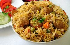 Soya Chunks-Vegetable Pulao - Rice dish with dried soya chunks and mixed vegetables like carrot, potatoes and green peas