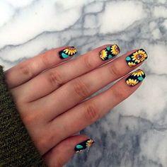 Uñas Decoradas Con Girasoles Nail Art With Flowers Nails En 2019