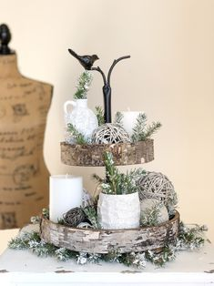 Rustic Two Tiered Tray Rustic Farmhouse Decor, Rustic Decor, Vintage Decor, Tray Decor, Tea Light Holder, Tea Lights, Christmas Crafts, Holiday Decor, Decor Ideas