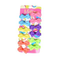 Set of 12 Neon Mini Bows Clips for Babies or Toddlers on 1.75 Inch Covered Hair Clip with Teeth -- Be sure to check out this awesome product.