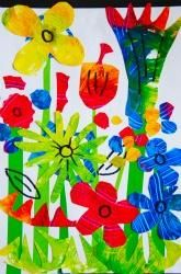 Have students finger paint to mix orange on 1 paper, green on another, and purple on the 3rd. Let papers dry and have students cut out stems and flowers to create a collage.