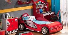 Race car bedroom- love the gray colored walls