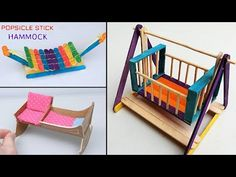 5 Easy Popsicle Stick Crafts, Miniature Cradle and Hammock - DIY & Craft ideas for kids. Hello, Everyone! In this video, we are making 5 easy popsicle stick crafts about miniature cradle and hammock for your dollhouse or for home decoration out of ice Diy Popsicle Stick Crafts, Popsicle Stick Houses, Craft Sticks, Hammock Diy, Hammock Ideas, Ice Cream Stick Craft, Diy Barbie Furniture, Diy Furniture, House Furniture