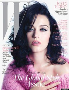 Katy Perry en une du W magazin, avec un maquillage rétro dans un teinte qui lui est chère: le rose...
