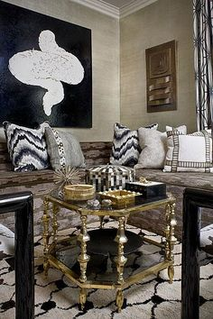 kelly Wearstler Pillows in a Morocco inspired Room.