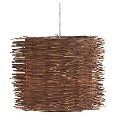 Woven twig drum pendant.    Product: PendantConstruction Material: Metal and woodColor: Natural