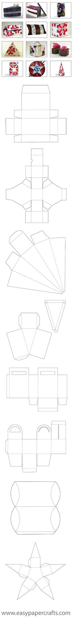 free Box Templates - from Rita at '{easy} Paper Crafts' http://www.easypapercrafts.com/index.php/free-templates-slide-show.html: