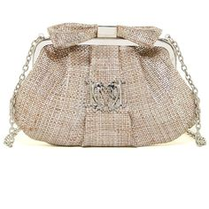 LOVE Moschino Shimmer Bow Clutch ($85) ❤ liked on Polyvore featuring bags, handbags, clutches, marrone, love moschino purse, chain handbags, shoulder strap purses, love moschino and chain purse