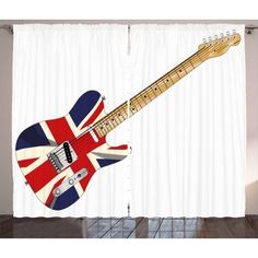 Union Jack Curtains 2 Panels Set, Classical Electric Guitar UK Flag Great Britain Music Instrument, Window Drapes for Living Room Bedroom, 108W X 96L Inches, Pale Brown Silver Black, by Ambesonne #eclecticbedrooms