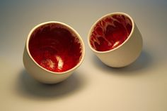 White bowls with red interior by ZebraDsgn on Etsy