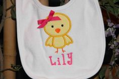 Boy or Girl Chick Bib  Monogrammed Baby Shower Gift by SixIsEnough