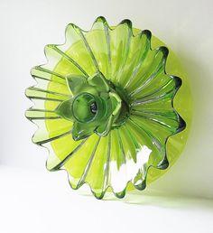 Bold Zesty Lime Green Glass Plate Flower Garden Art 'VALERIE' (II) ...................... by jarmfarm   Etsy