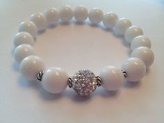 White Beaded Bracelet by SharonKrug on Etsy, $17.50