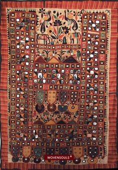 RARE MUSEUM QUALITY DHANIYO WALL PANEL WITH MIRRORWORK & EMBROIDERY - RJPUT TRIBE, KUTCH GUJARAT