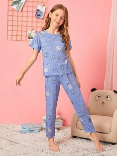 Material: Cotton Composition: Cotton, Polyester Color: Blue Pattern Type: Galaxy Neckline: Round Neck Style: Casual Type: Pajama Sets Sleeve Length: Short Sleeve Fabric: Fabric has some stretch Tween Fashion, Pop Fashion, Fashion Outfits, Gothic Fashion, Steampunk Fashion, Girls Sleepwear, Girls Pajamas, Best Pjs, Black Milk Clothing