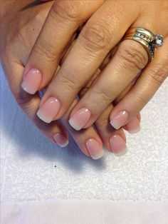 If you want your acrylic look like Natural Nails, Just put simple nude color or clear gels on your nails. Make them shorter. French tips are also nice for natural nails design. #nudenails