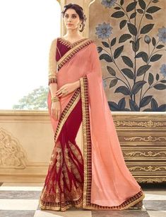Red Color Chiffon and Faux Georgette Saree - TSNJW87019
