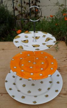 Busy Bees Hand Painted English Bone China Cake by scattyartist, $69.00