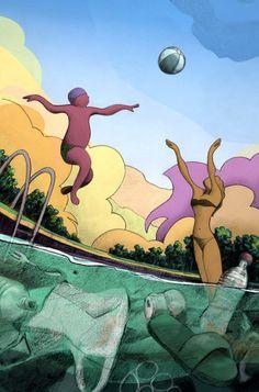 #trash #pool #eco #basura #garbage #piscina #ecologia #colors #colores #illustration #ilustracion Disney Characters, Fictional Characters, Disney Princess, Colors, Illustration, Prints, Art, Swiming Pool, Illustrations