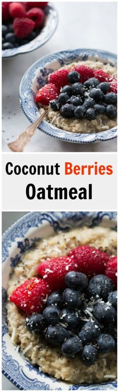 Coconut Berries Oatmeal - This delicious Coconut Berries Oatmeal is filling, vegan and gluten-free. It is made with coconut milk, chia, rolled oat and chia seeds.