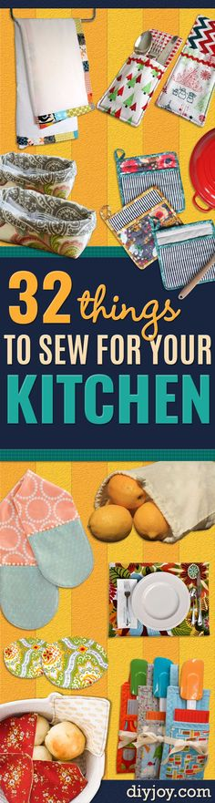 DIY Sewing Projects for the Kitchen - Easy Sewing Tutorials and Patterns for Tow. DIY Sewing Projects for the Kitchen - Easy Sewing Tutorials and Patterns for Towels, napkinds, aprons and cool Christmas gifts for friends a. Diy Sewing Projects, Sewing Projects For Beginners, Sewing Hacks, Sewing Tutorials, Sewing Crafts, Sewing Tips, Craft Projects, Bag Tutorials, Sewing Basics