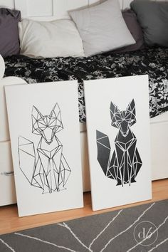 Dwell Beautiful utilizes her new Silhouette Cameo and makes some awesome geometric fox art for her bedroom! Geometric Fox, Geometric Drawing, Geometric Shapes, Geometric Designs, Geometrisches Tier, Fox Art, Art For Bedroom, Bedroom Drawing, String Art
