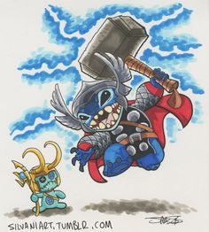 Lilo & Stitch and Thor Crossover Disney Kunst, Arte Disney, Disney Magic, Disney Art, Lelo And Stitch, Lilo Et Stitch, Toothless And Stitch, Disney Stich, Stitch Drawing