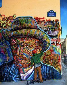 Van Gogh by Arnaud Rabier Nowart an outstanding illustrator, graffiti and street-art artist from Clichy, France. 3d Street Art, Urban Street Art, Best Street Art, Murals Street Art, Amazing Street Art, Street Art Graffiti, Street Artists, Amazing Art, Awesome