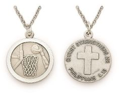 Christian Sterling Silver Sports Medal - Boys Basketball