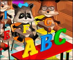Critters in the classroom learning the alphabet. Back to school themed jigsaw puzzle for kids to play online!