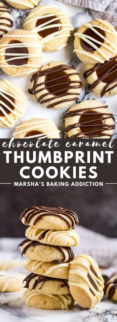 Chocolate Caramel Thumbprint Cookies - Deliciously soft, melt-in-your-mouth vanilla thumbprint cookies filled with homemade chocolate caramel sauce, and drizzled with melted chocolate! Recipe on marshasbakingaddiction.com #caramel #caramelsauce #thumbprintcookies #cookies